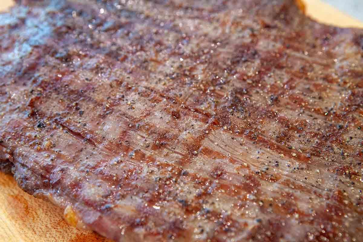grill lines on flank steak