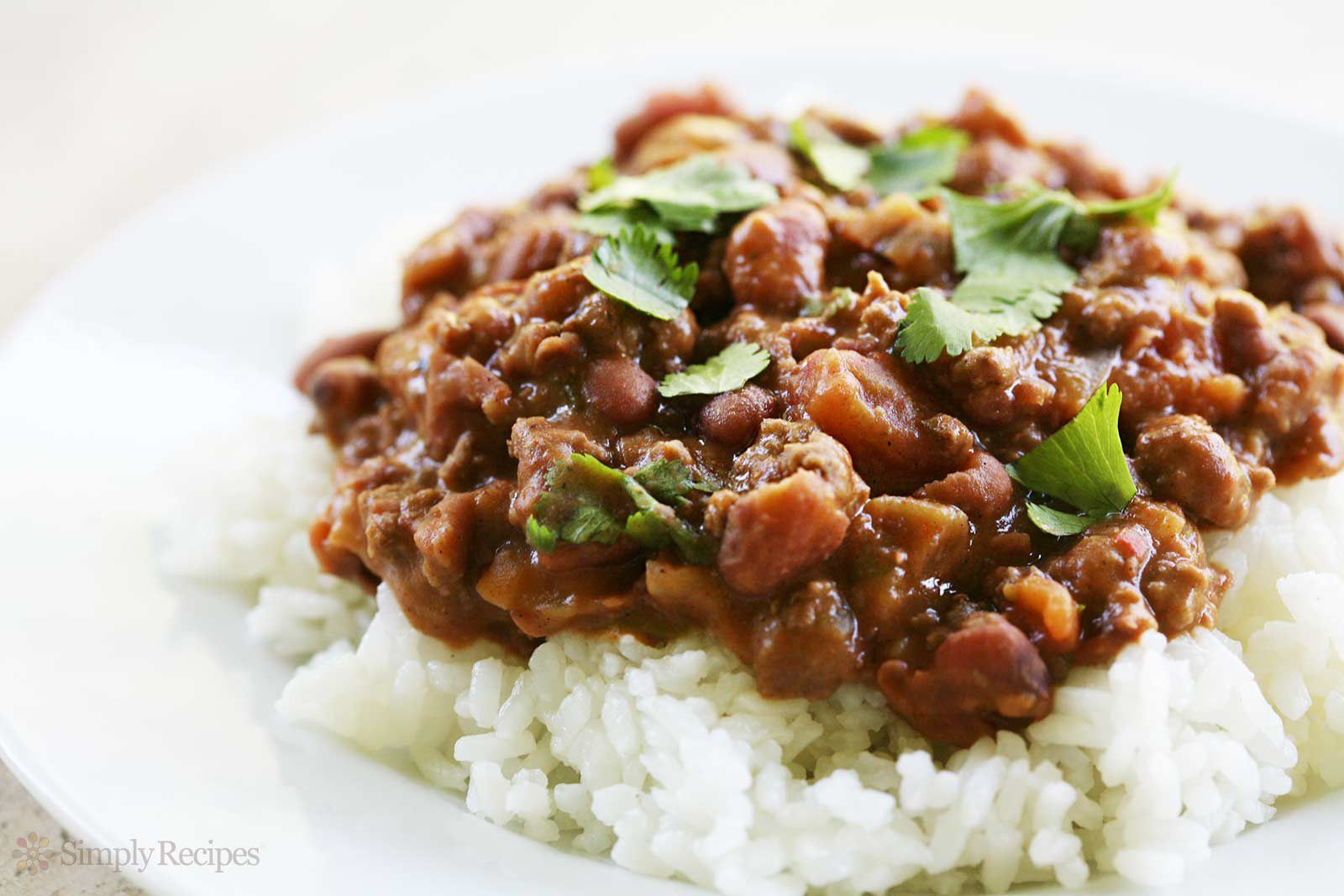 Chili Beans and Rice on plate