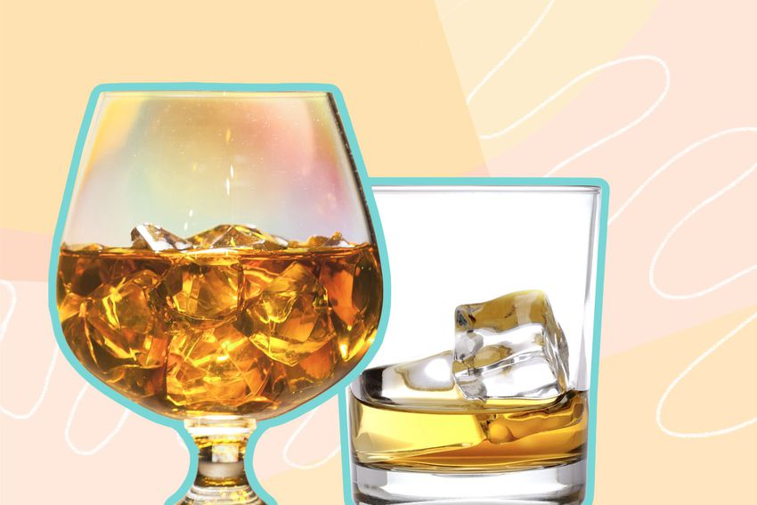Photo composite of two scotch glasses with scotch and ice