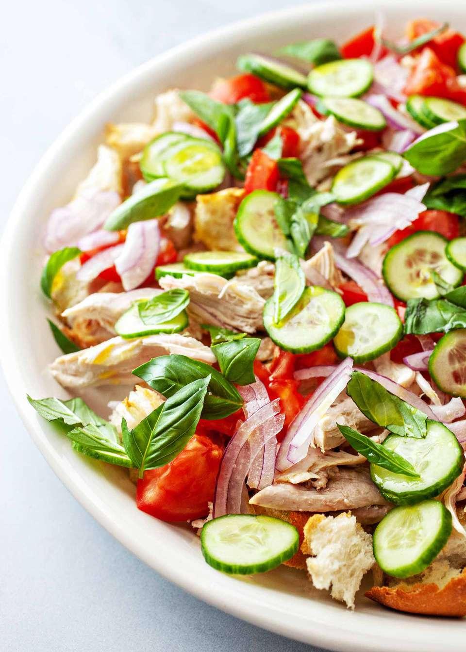 Chicken Panzanella Salad - red green bowl of panzanella