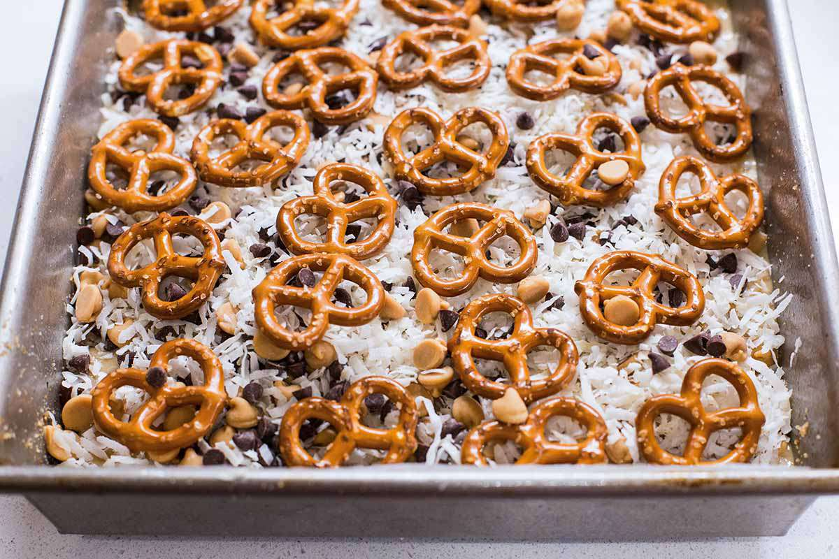7 Layer Bars with Peanut Butter and Pretzels add the pretzels