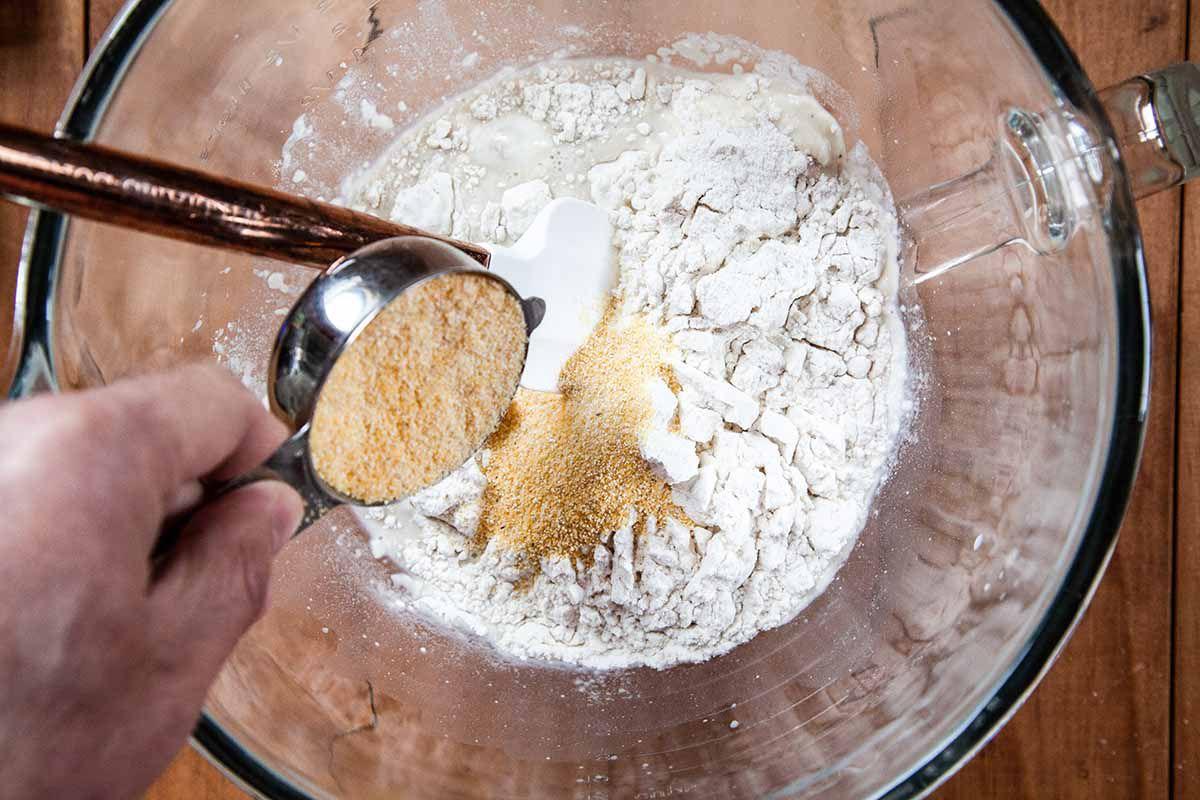 Best Belgian Waffle Recipe add the cornmeal