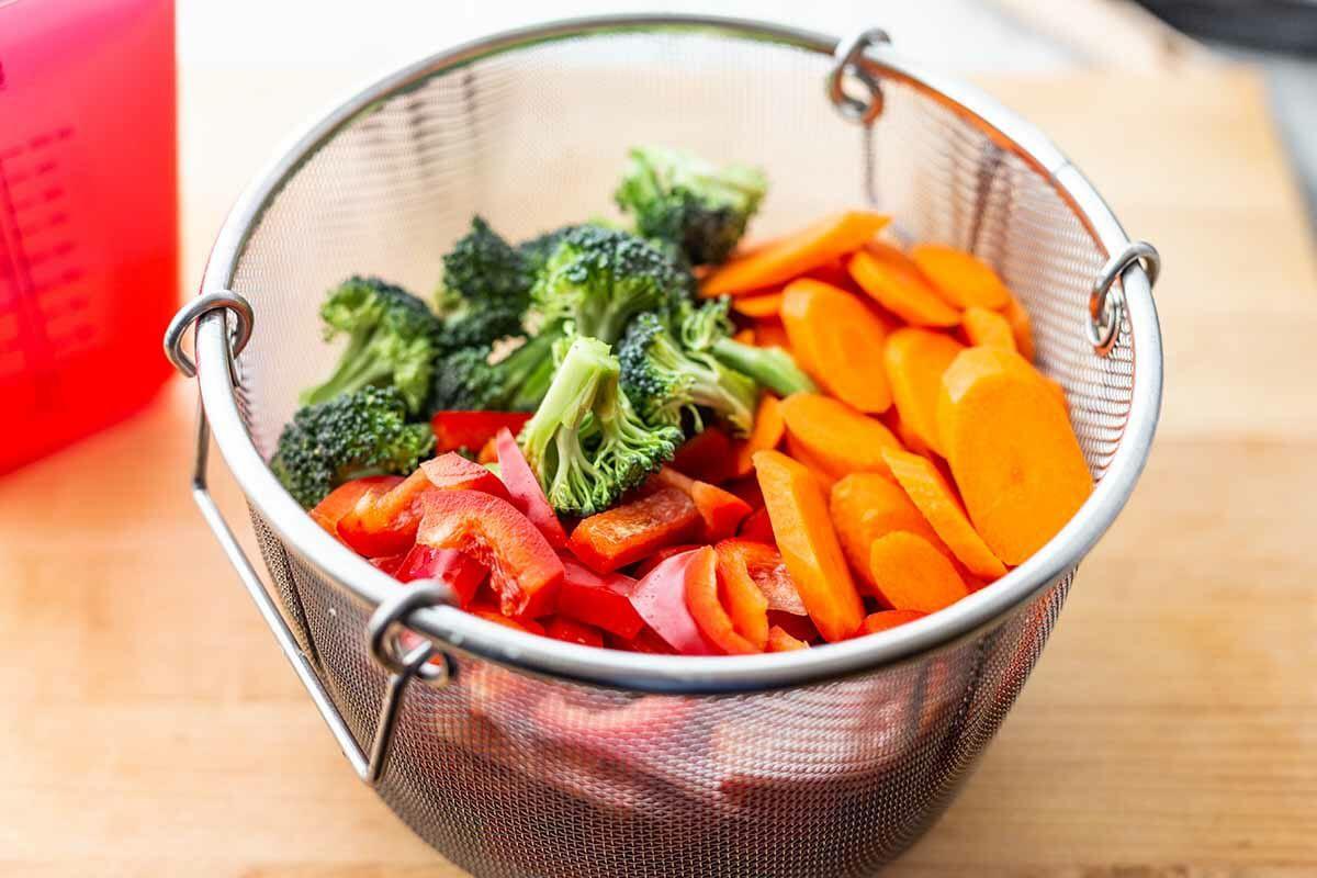 Instant Pot Pasta Primavera Recipe fill the steamer basket