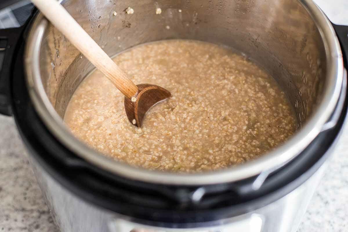 Steel Cut Oats in the Instant Pot stir the oats