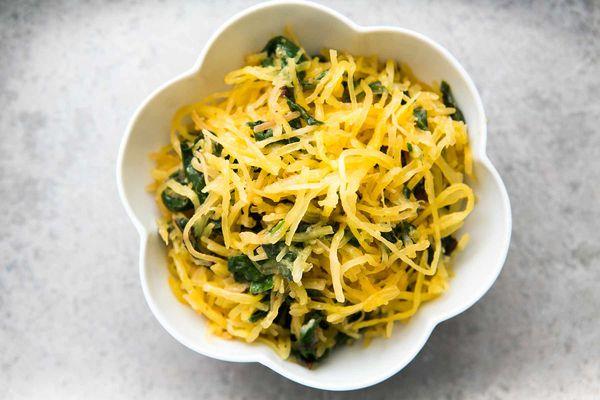 Spaghetti Squash Chard Sauté