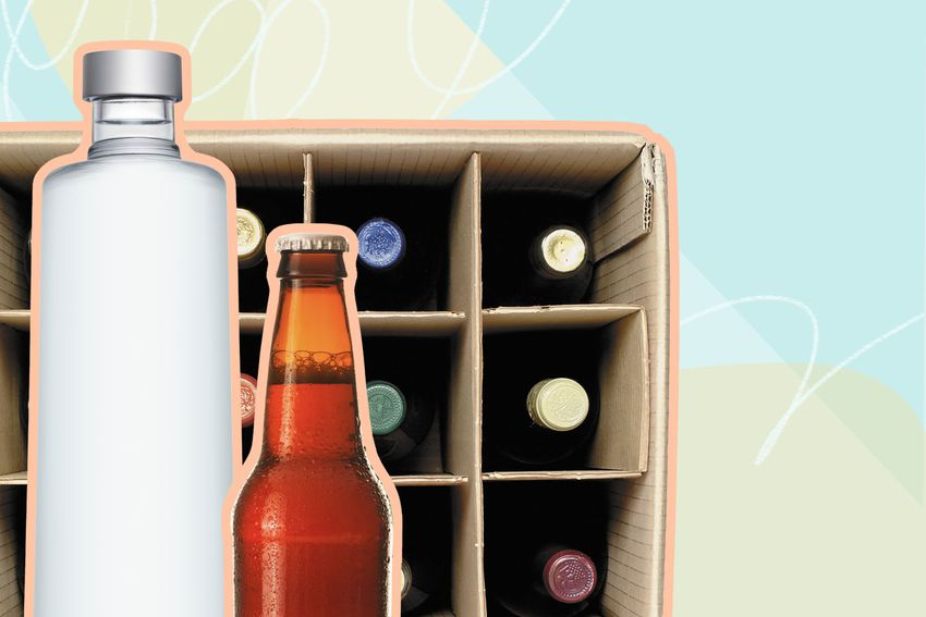 Photo composite of a liquor and beer bottle over a case of bottles.