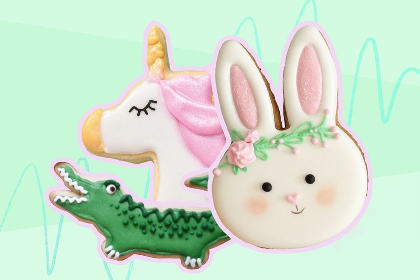 Photo composite of cookies decorated as an alligator, unicorn, and rabbit