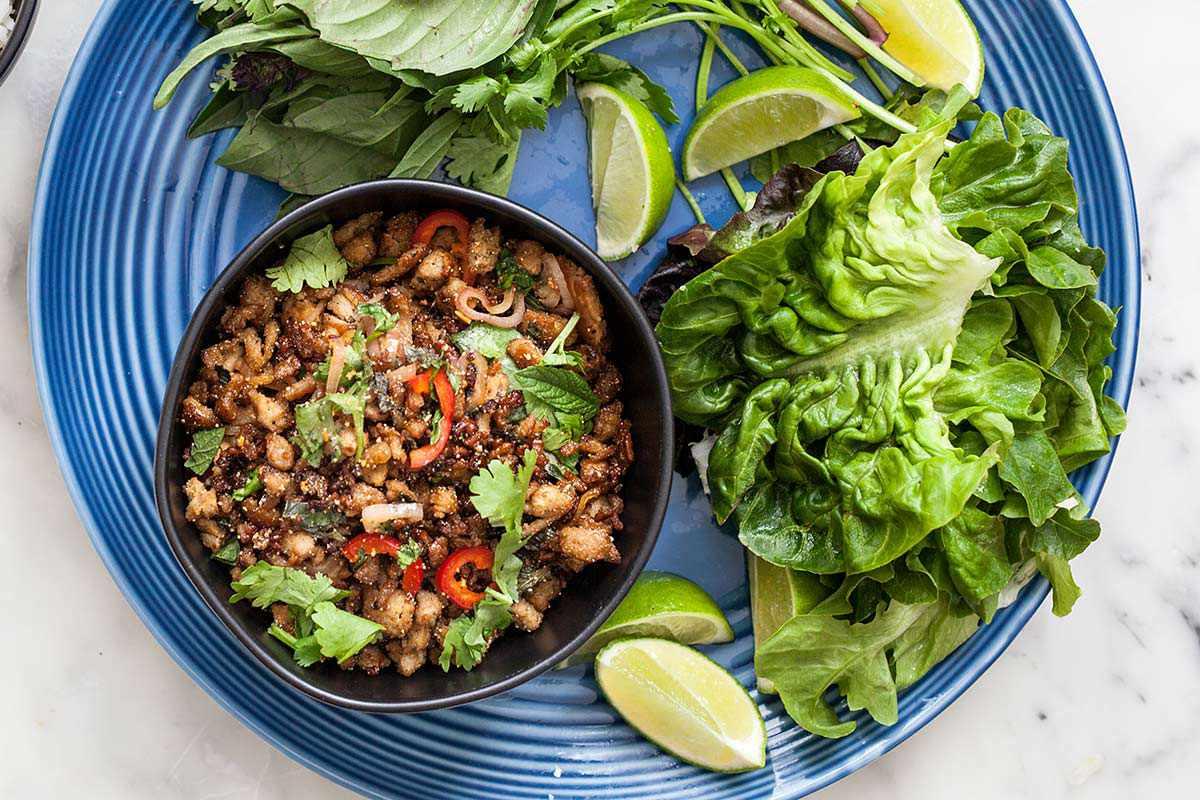 Laos Food Chicken Larb serve the larb
