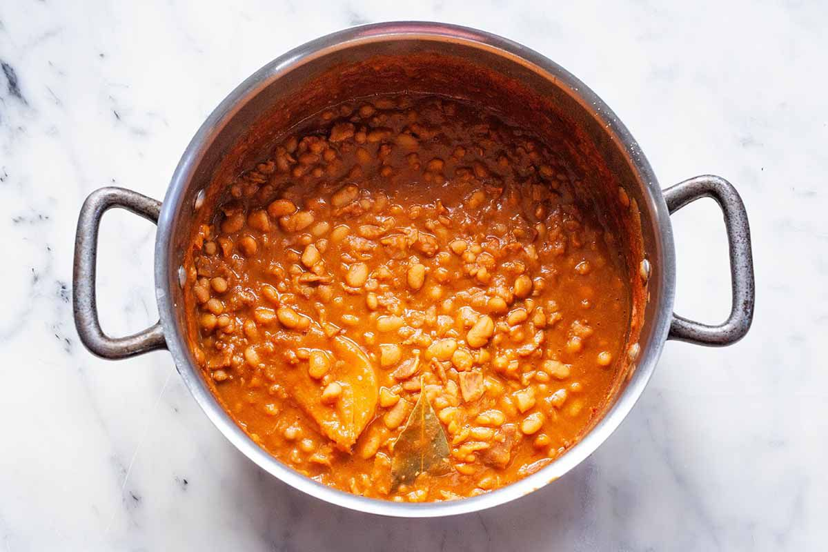 How to Make Baked Beans - baked beans in a pot