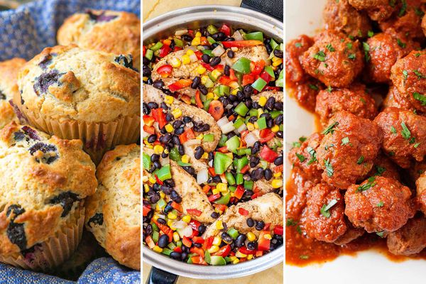 Three photos side by side. On the left is a linen lined basket with blueberry muffins inside. The center photo is a skillet with Southwest Skillet Chicken with Beans and Corn inside. The photo on the right are sauce covered meatballs sprinkled with parsley.
