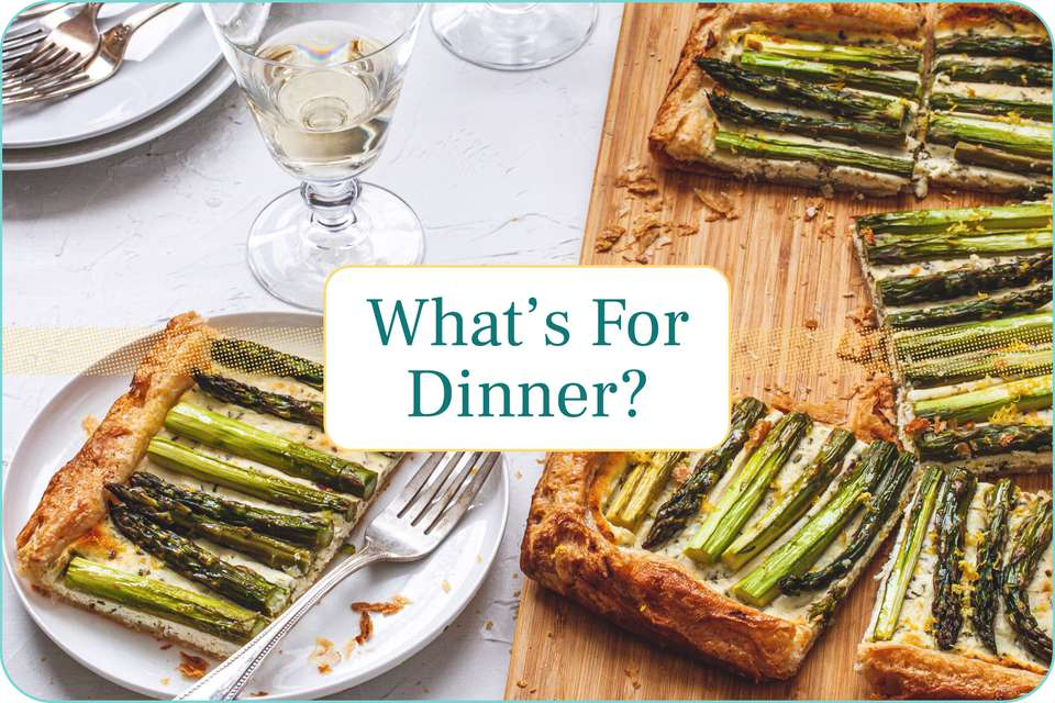 """""""What's for Dinner?"""" with an asparagus tart set behind the text."""