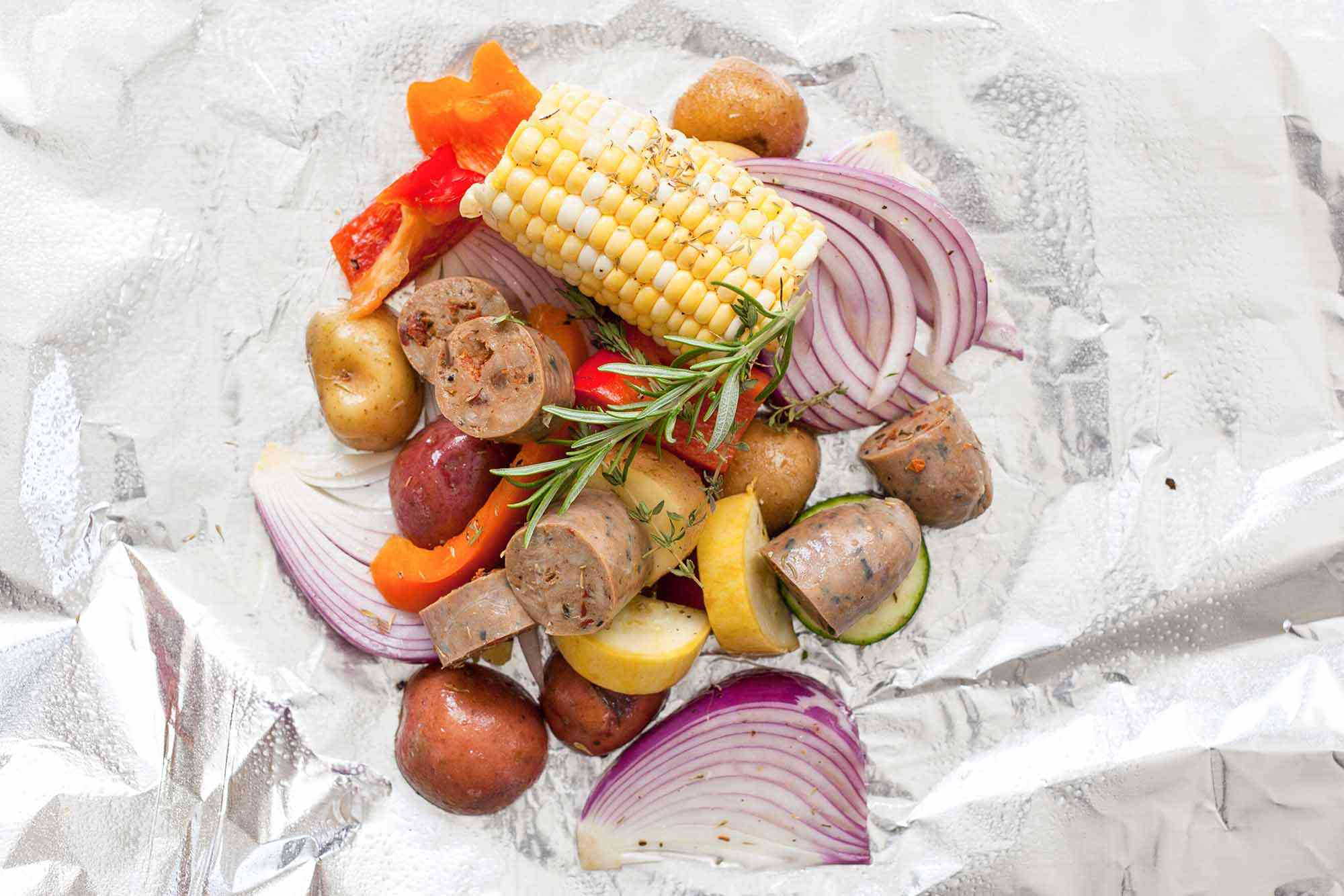 Grill Foil Packets Meal add the veggies