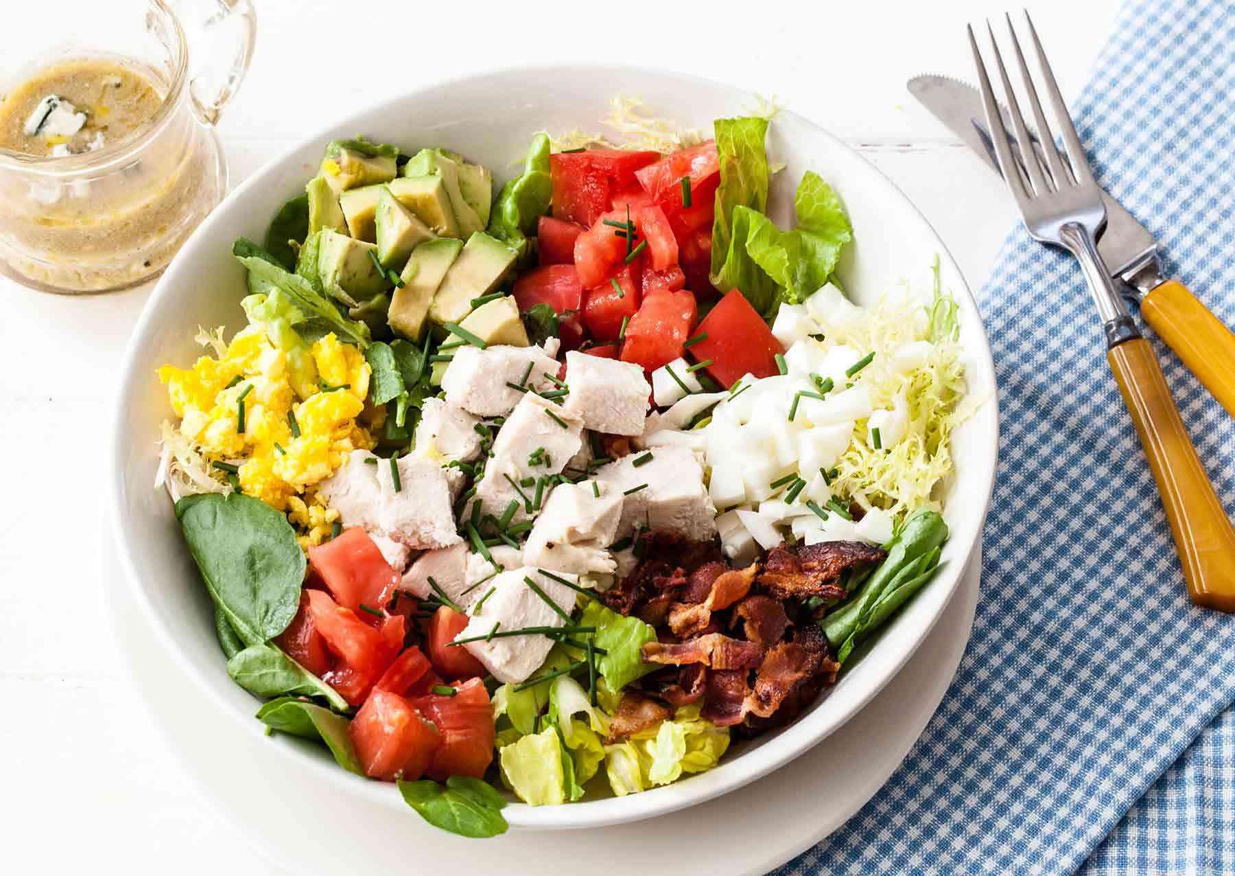 classic cobb salad in bowl