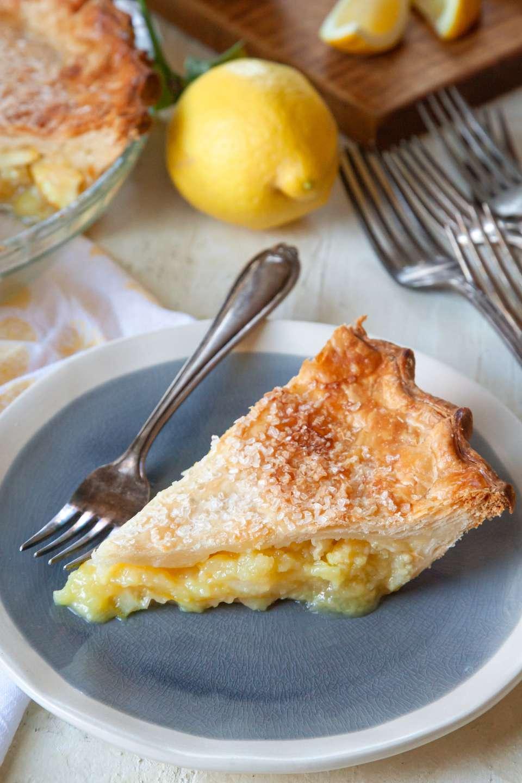 A slice of 6 Ingredient Lemon Pie on a plate.