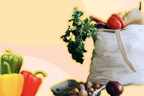 Photo composite of a canvas bag of fresh produce, egg carton, bell peppers and a red onion