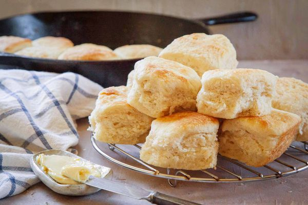 Pile of angel biscuits on a wire trivet