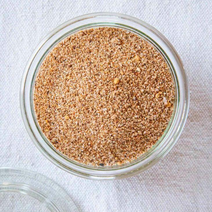 Seafood rub recipe - overhead spice in glass jar