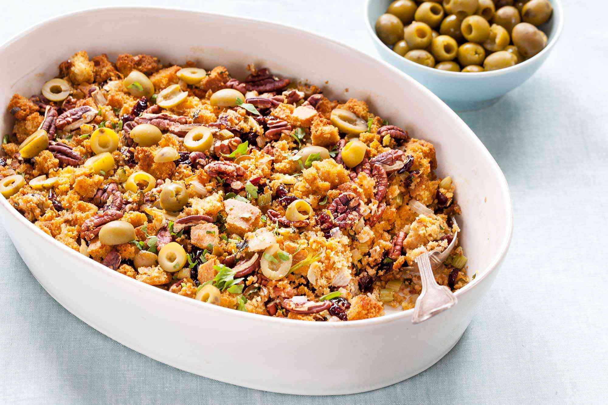 Cornbread Stuffing with Olives and Pecans