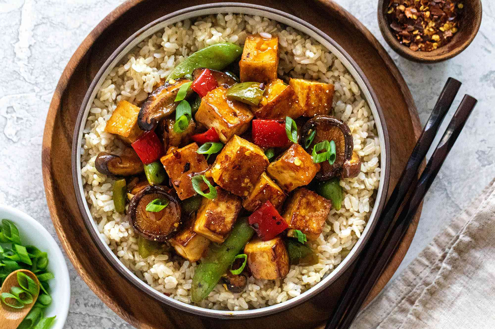 Easy Tofu Stir Fry served with rice.