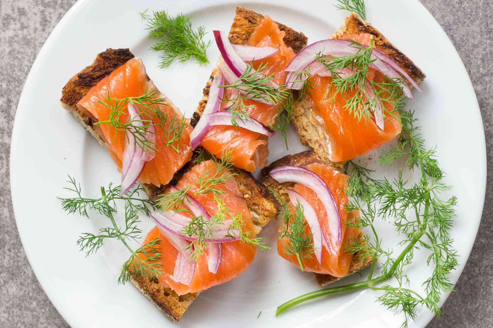 Salmon Gravlax on toast