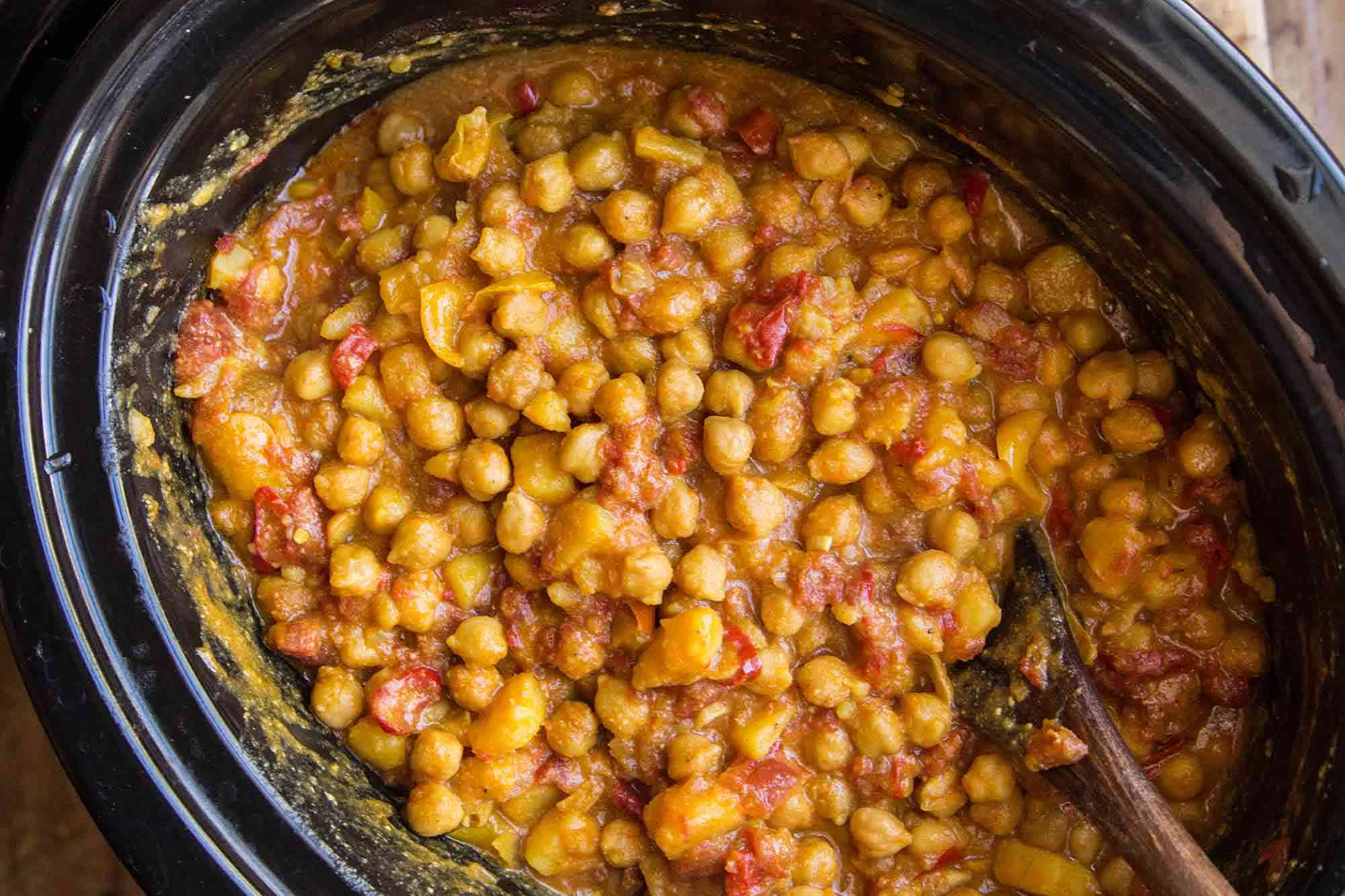 Crockpot chickpea curry after cooking