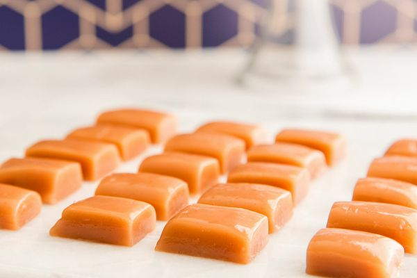 Homemade Caramel Candy cut into squares.