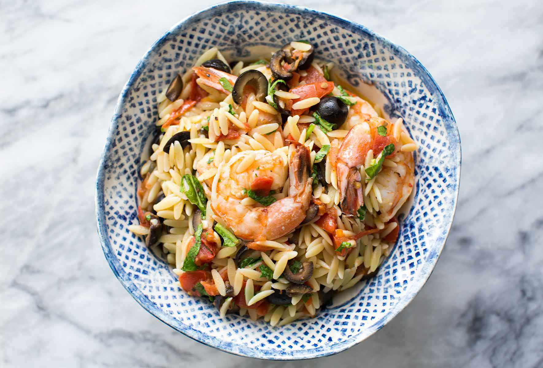 Shrimp with Tomatoes, Olives, & Orzo