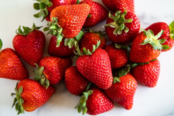 Pile of red strawberries