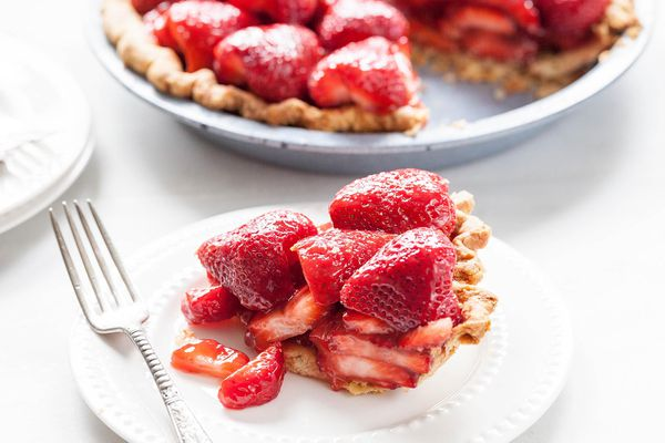 Homemade Strawberry Pie slice on serving plate