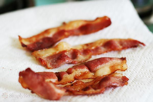 put the cooked bacon on paper towels to absorb excess fat