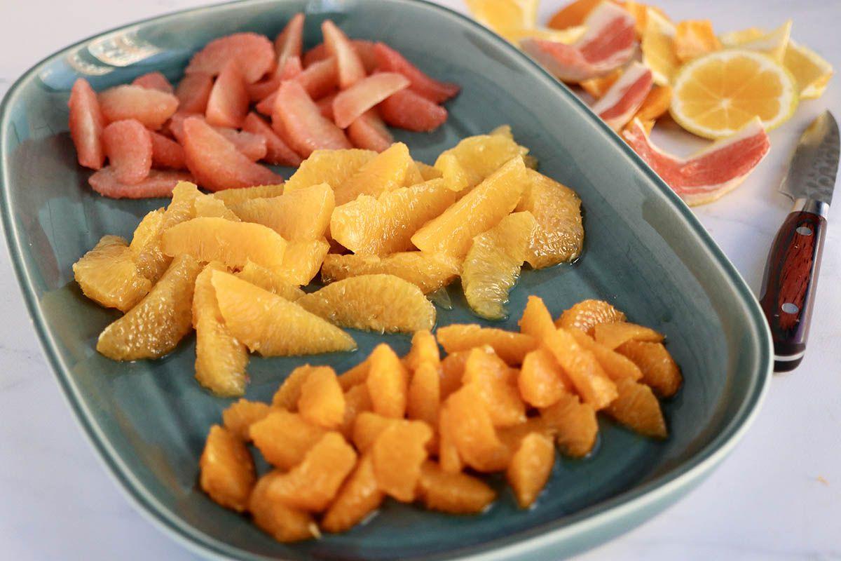 Citrus in a platter to make a Winter Citrus Parfait