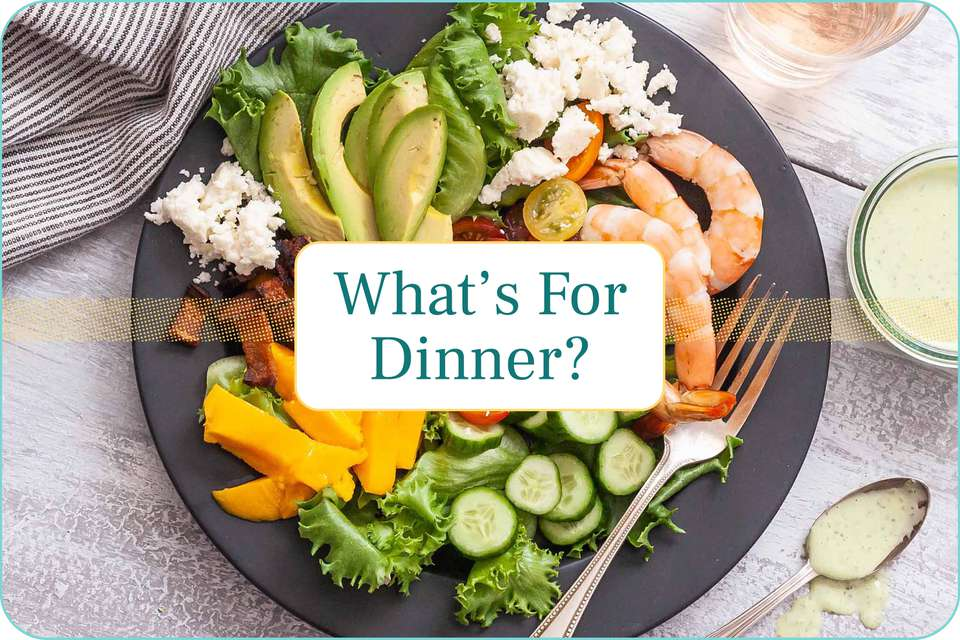 """What's For Dinner"" with a plate of Shrimp Cobb Salad with Creamy Basil Dressing pictured under the caption."