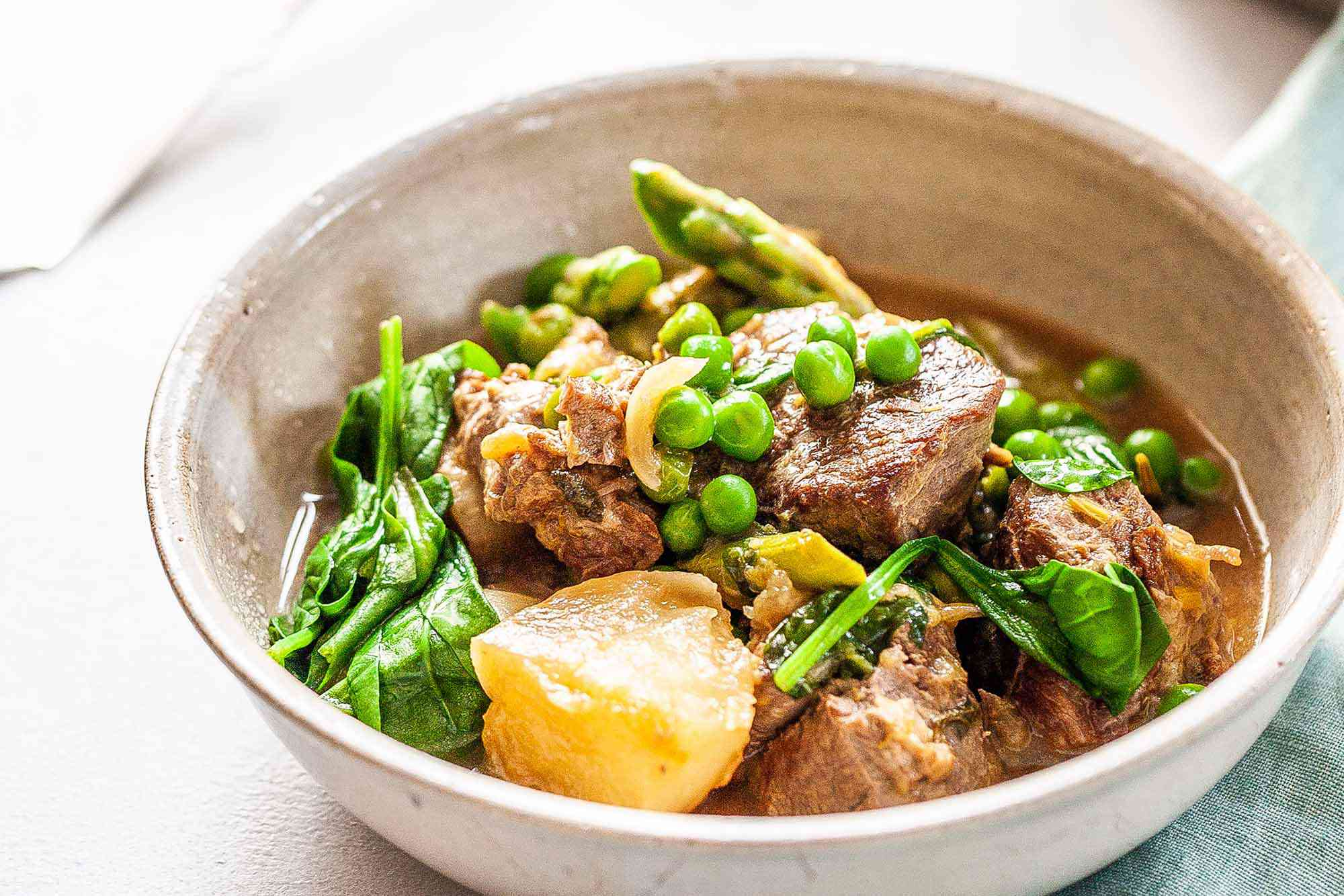 Easy Lamb Stew with spring vegetables.