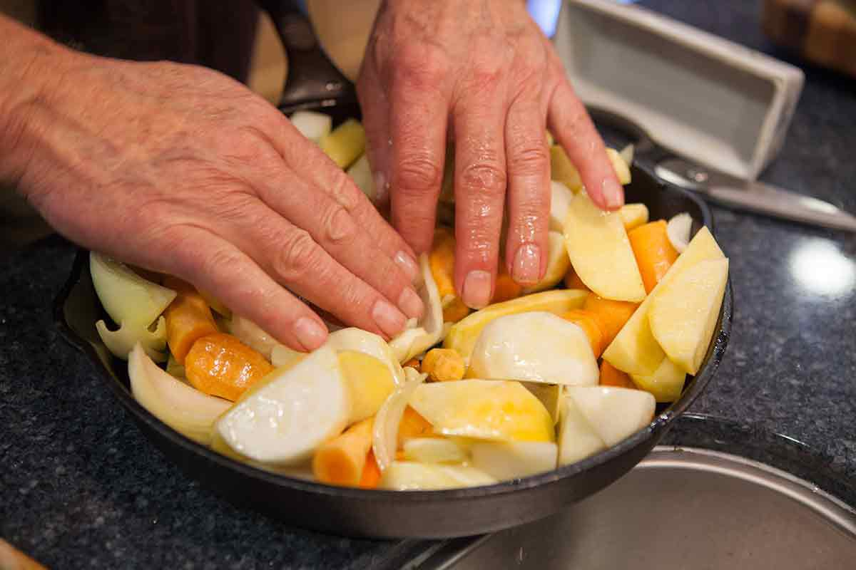 Preparing vegetables for Thomas Keller roasted chicken