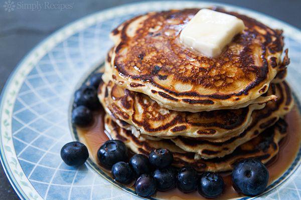 Blueberry Buttermilk Pancakes ready to serve