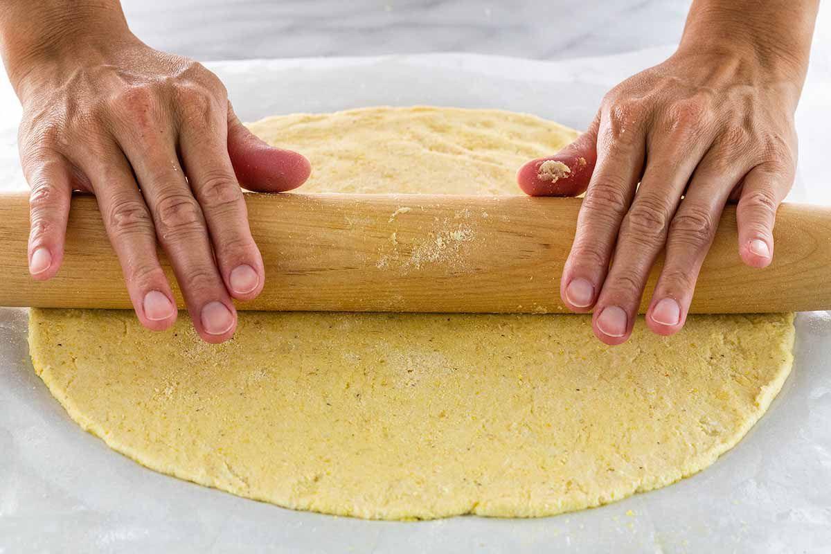 Gluten-Free Cauliflower Pizza Crust roll out the crust