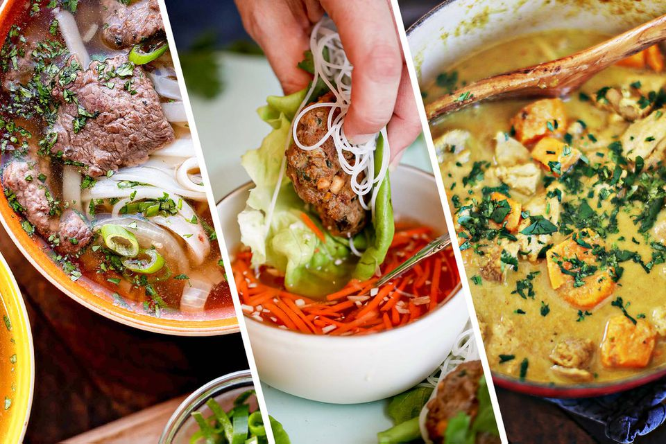 Three images set next to each other. To the left is a bowl of homemade beef pho. In the middle is a lettuce wrap being dipped in a mixture of sliced carrots. The image at the right is a bowl of Vietnamese curry.