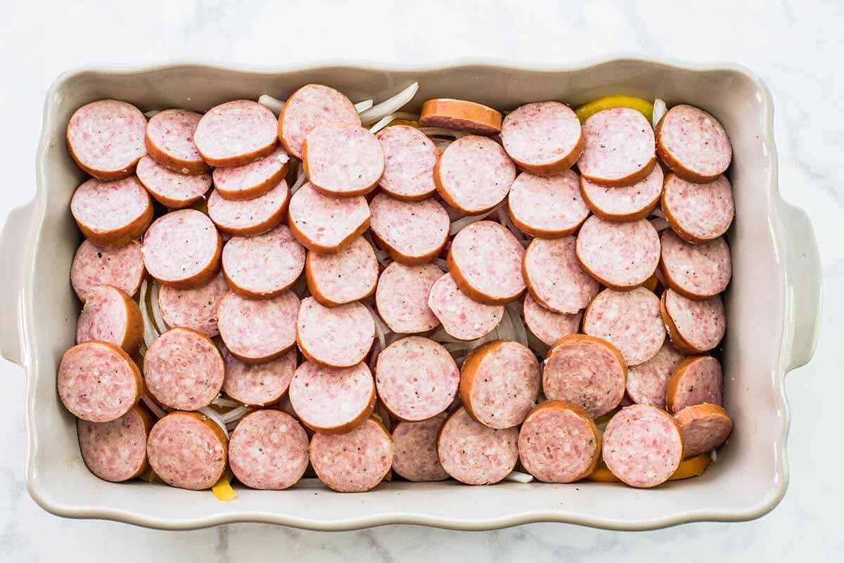 Smoked Sausage and Potato Bake layer the sausage