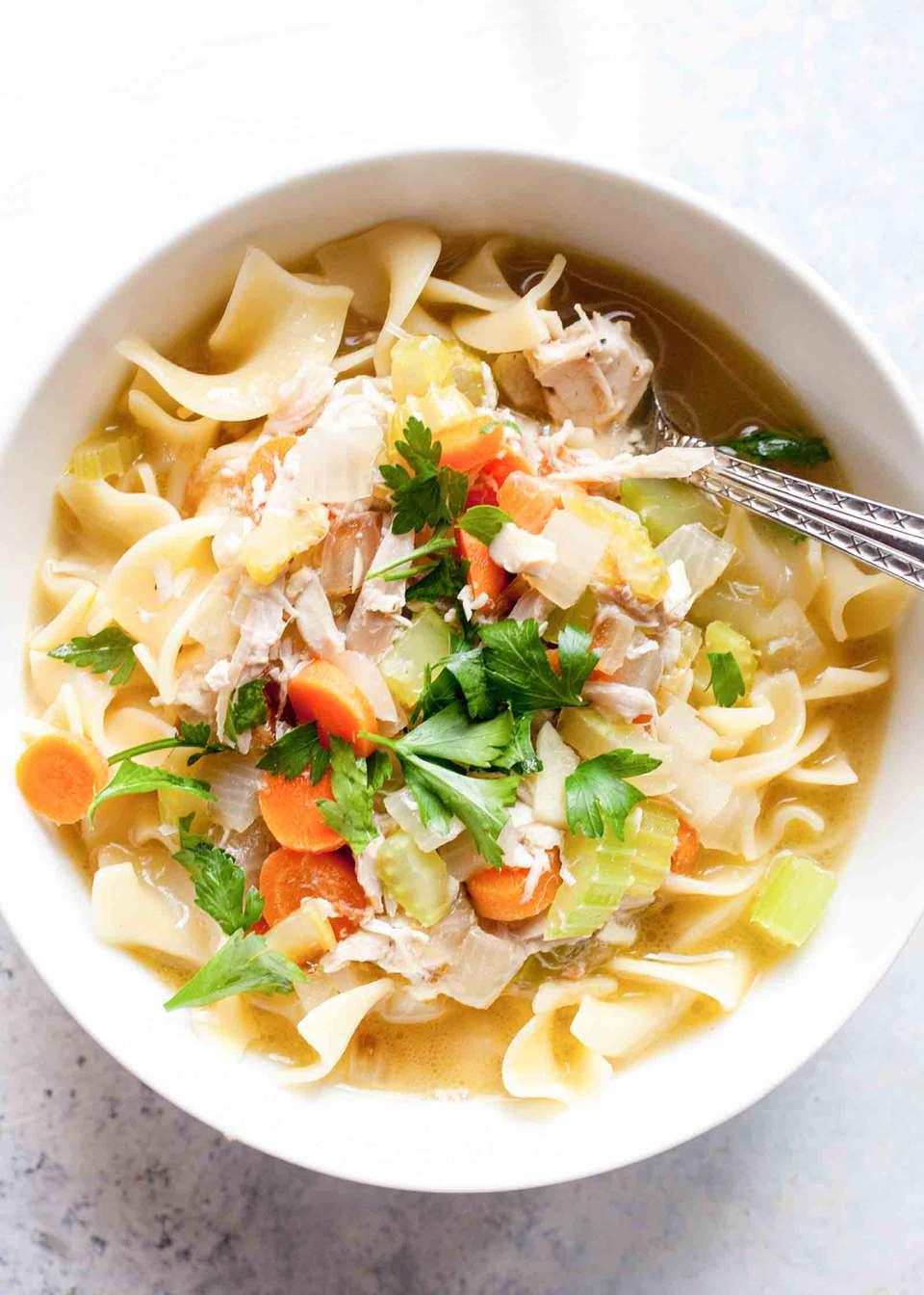 Quick Rotisserie Chicken Noodle Soup