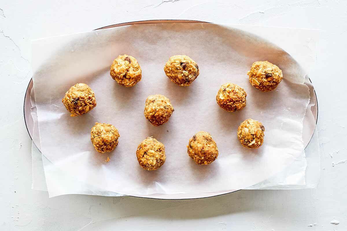Peanut Butter Protein Balls shape the balls