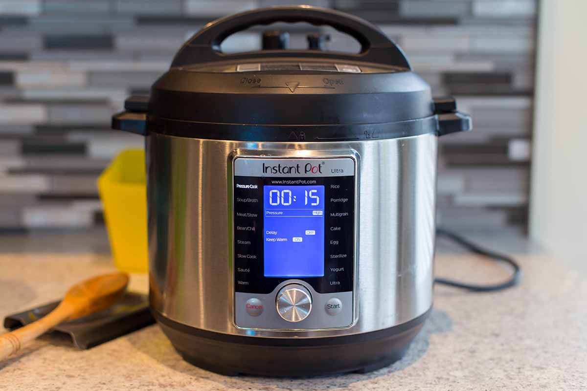 White chicken chili in the instant pot set the cooker