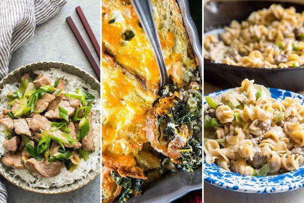 Triptych with pork stir-fry, cheddarbake, broccoli pasta