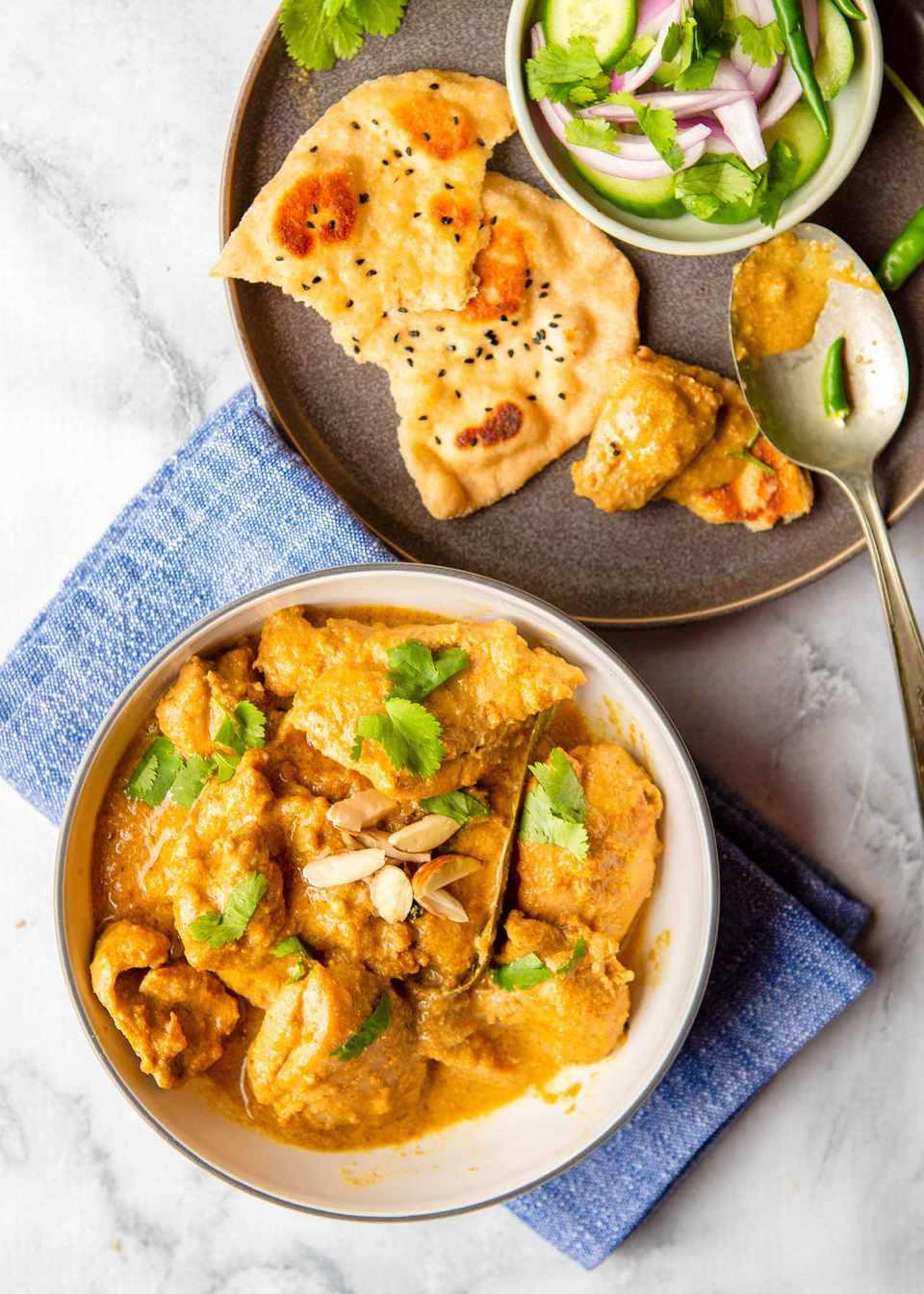 Best Recipe for Chicken Korma - chicken korma with naan.