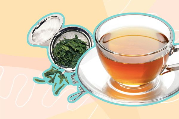 Photo composite of a tea steeper with tea leaves beside a cup of tea