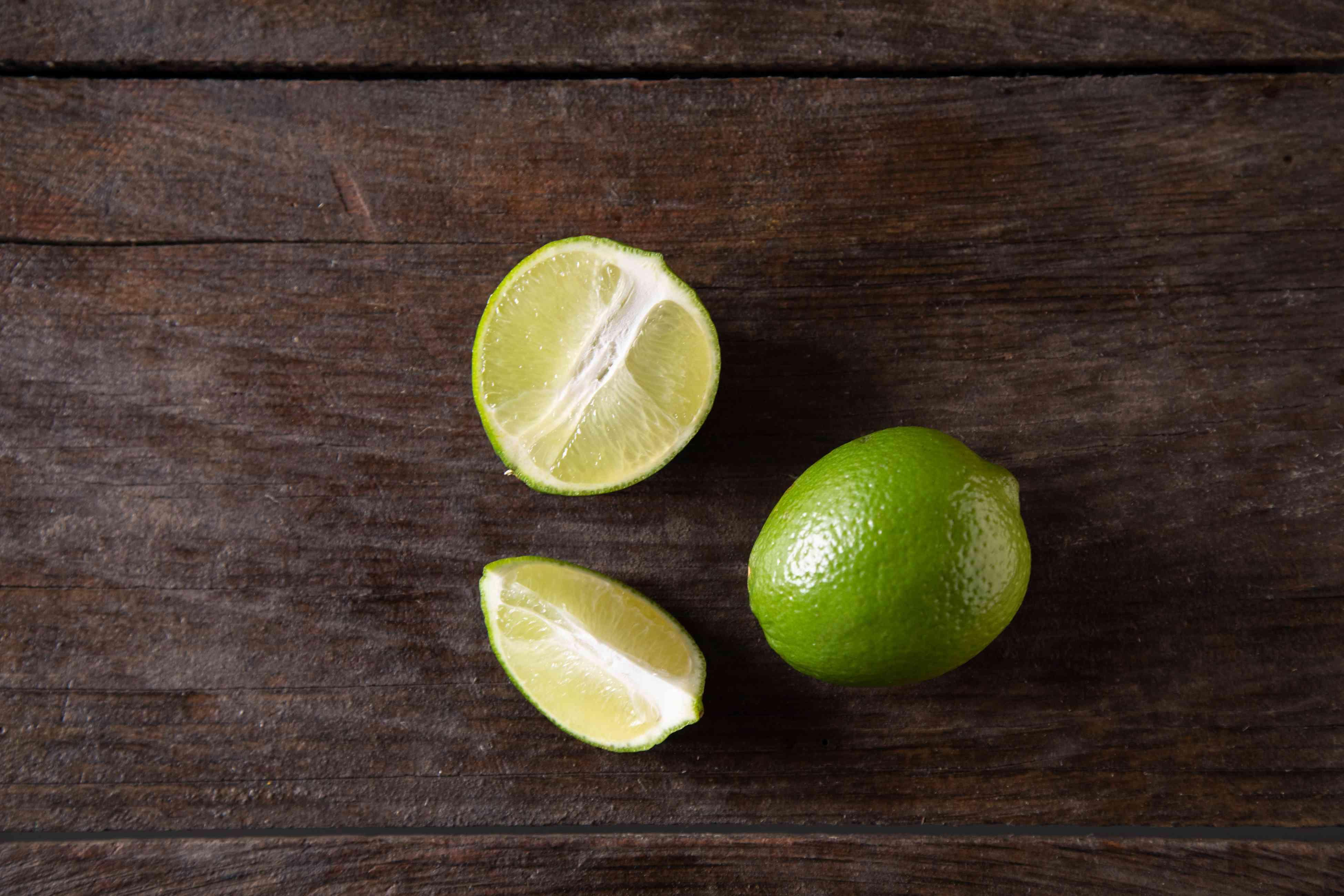 Limes on dark background
