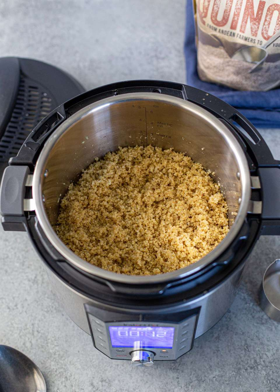 Pot of cooked quinoa in Instant Pot