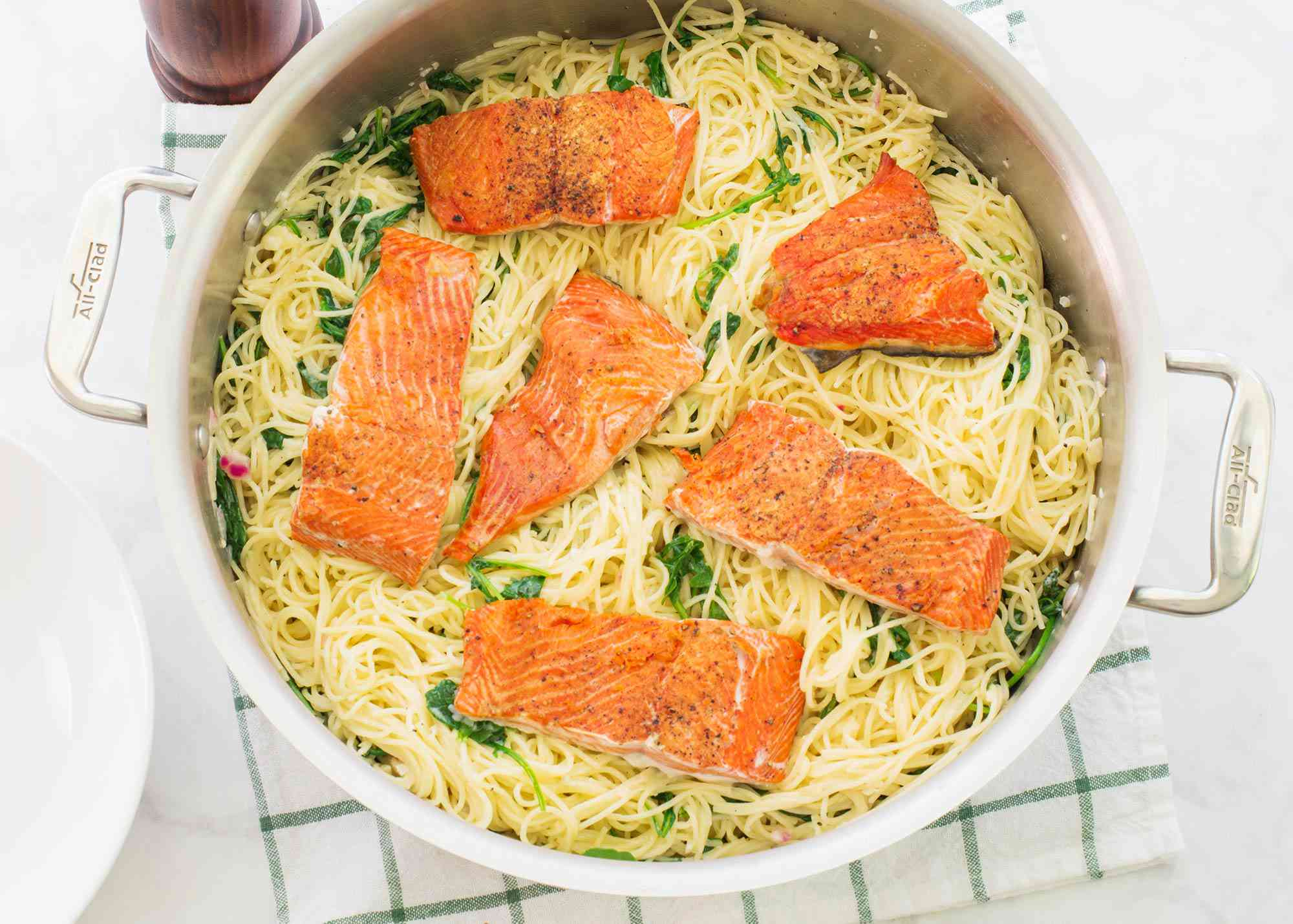 Wild Salmon with Angel Hair Pasta Recipe