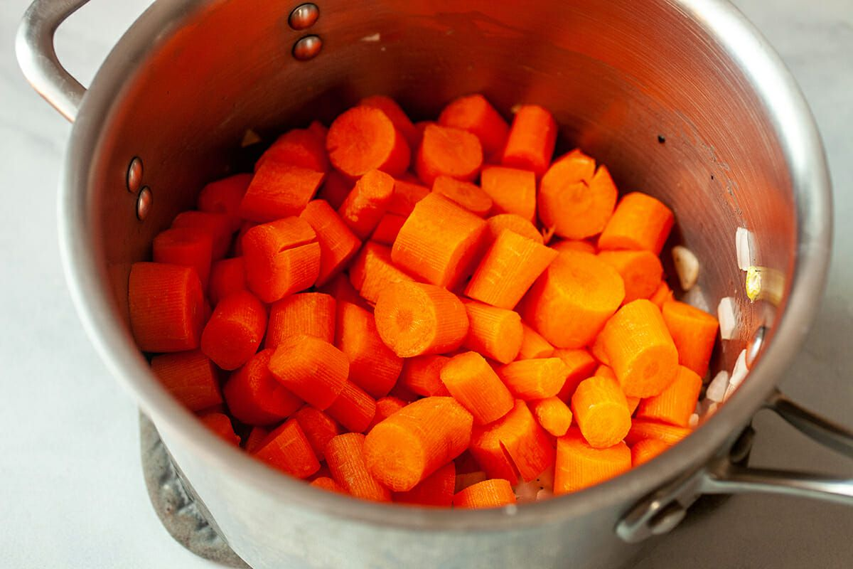 Carrot Puree Soup add the carrots