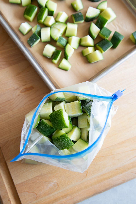 Chopped zucchini in a freezer bag