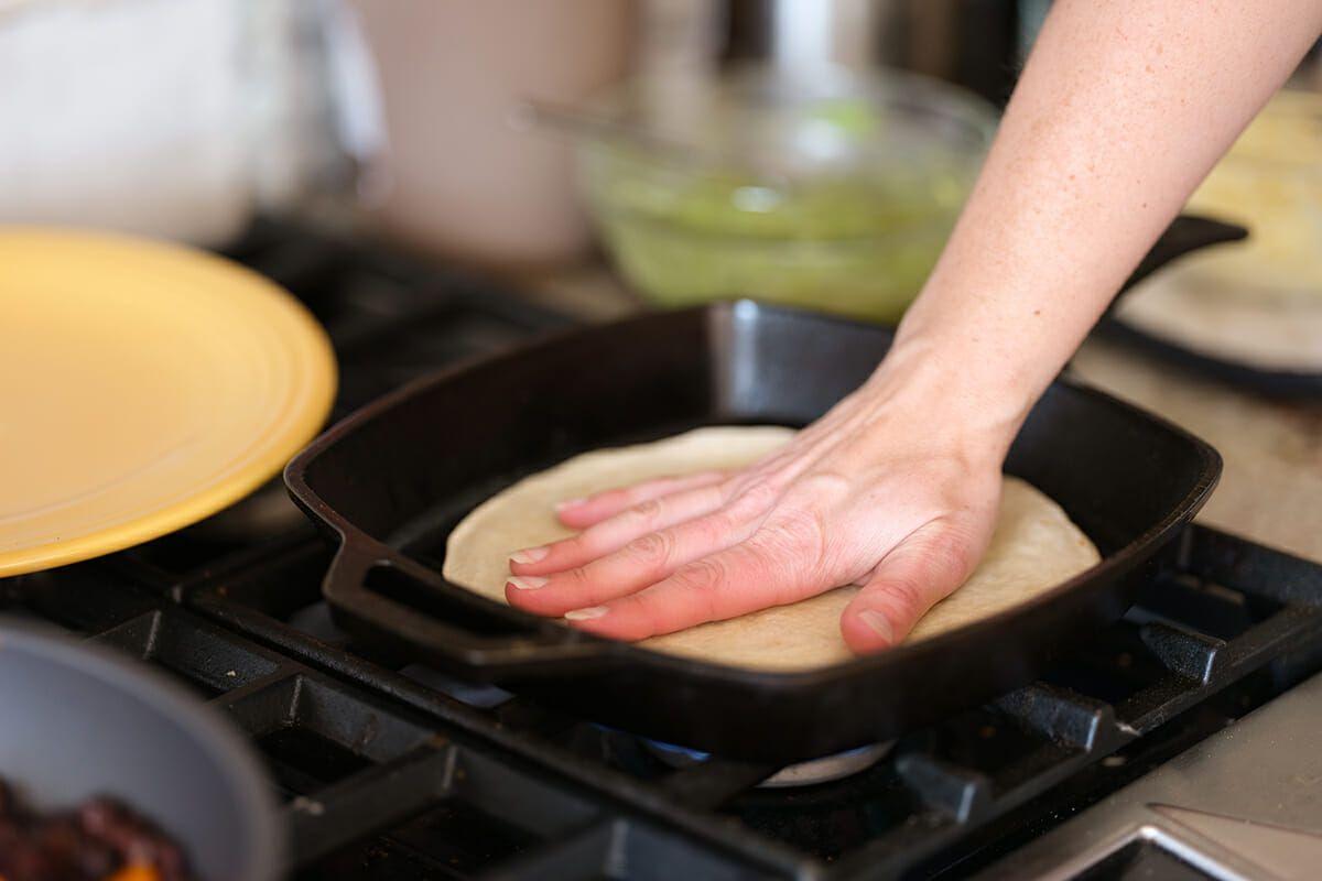 Avocado and black bean quesadilla recipe warm the tortillas